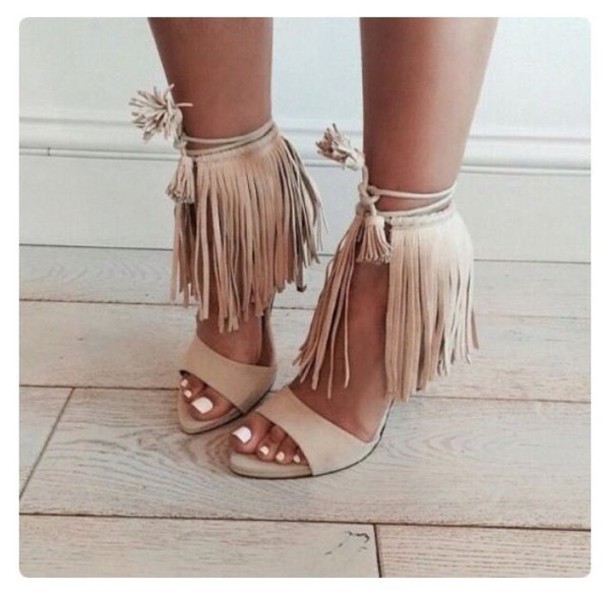 3d318bcdfe2 suede Open toe Lace up Heels with Fringes