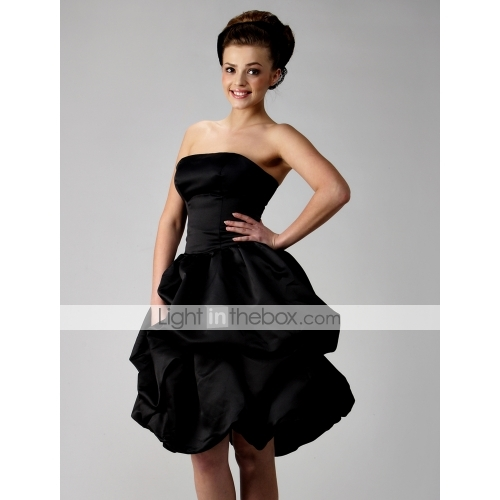Ball gown strapless short/ mini satin bridesmaid/ wedding party dress (hsx038)