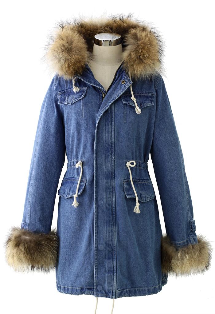 Hit The Road Detachable Fur Denim Jacket - Retro Indie And Unique Fashion