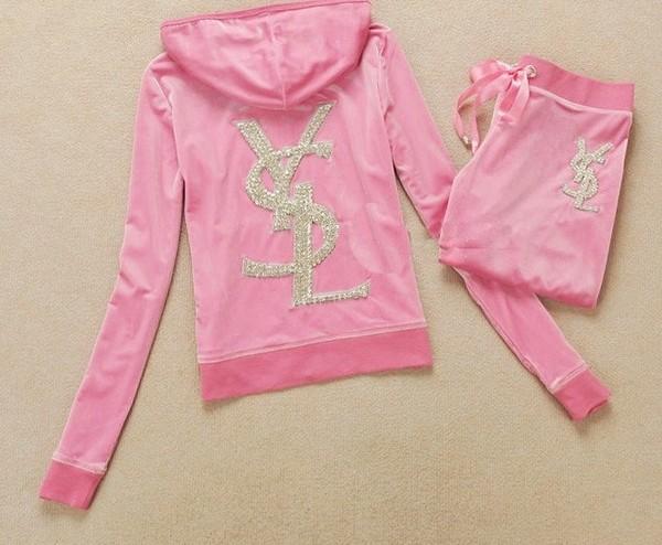 sweater hoodie pants ysl tracksuit pink
