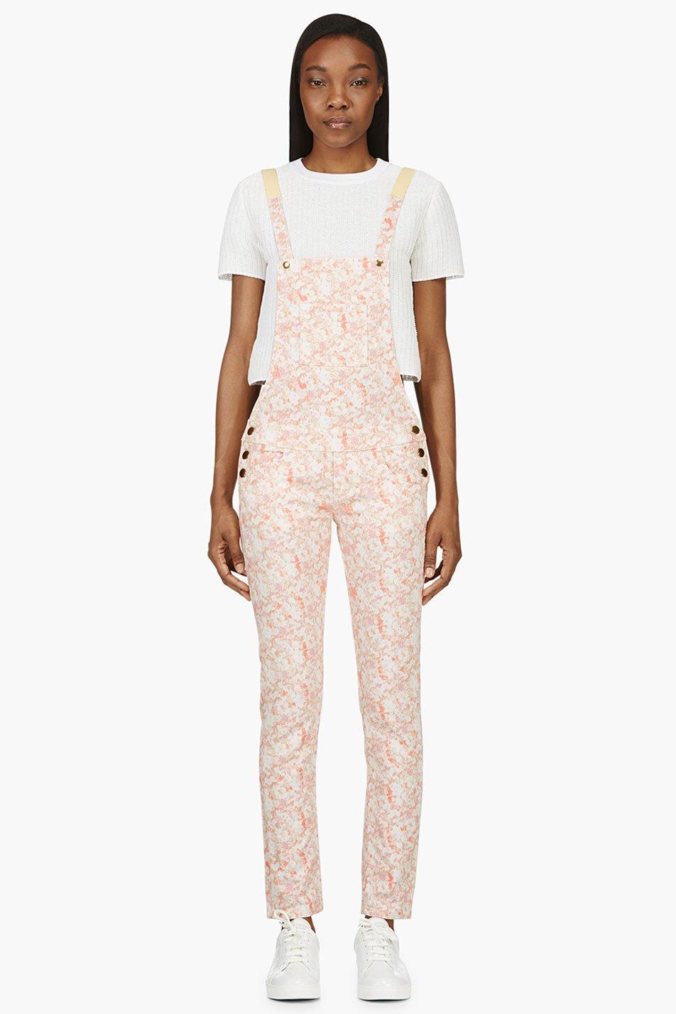 roseanna peach floral overalls