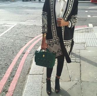 jacket black and white aztec jacket aztec print coat aztec jacket blazer