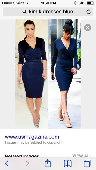 dress blue prom kim kardashian rihanna low cut midi