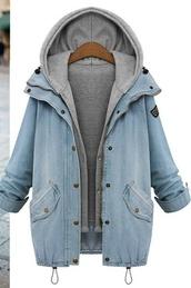 jacket,denim jacket,hoodie,coat,blue,denim,double layers,grey,hood,denim and grey,jean jackets,plus size