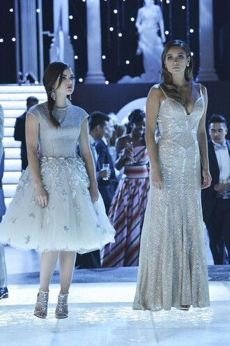 dress pll ice ball emily fields aria montgomery lucy hale shay mitchell gown tulle dress silver embellished heels pretty little liars
