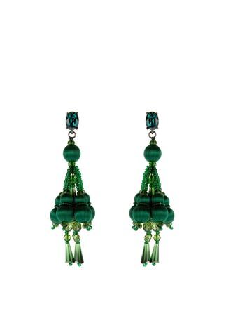 tassel embellished earrings dark green jewels