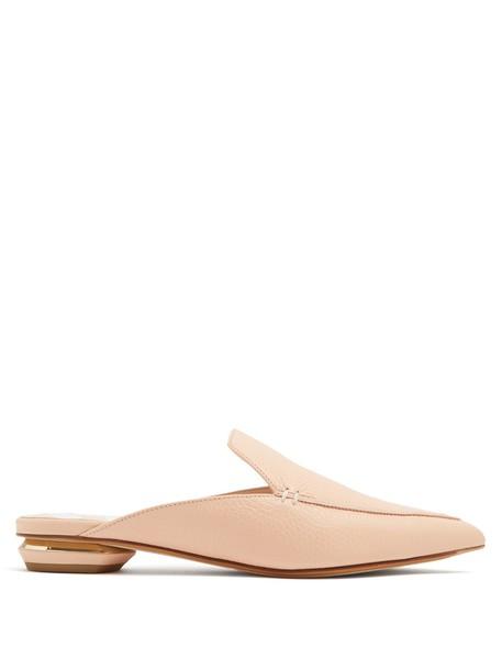 Nicholas Kirkwood backless loafers leather nude shoes