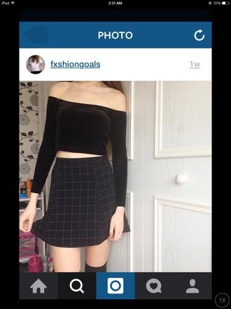 shirt tumblr summer skirt black sexy summer stlye style fashion off the shoulder