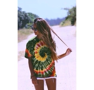 t-shirt rasta cute tie dye hippie shirt sunglasses boho shirt boho hipster skirt summer shirt