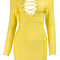 Long sleeve plunge lace up bandage dress yellow