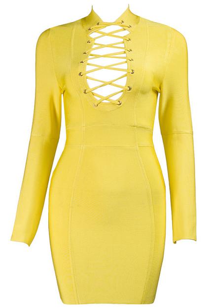 Long Sleeve Plunge Lace Up Bandage Dress Yellow