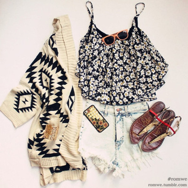 shirt floral distressed denim shorts sandals floral phone case sweater sunglasses shoes tank top jacket flowered
