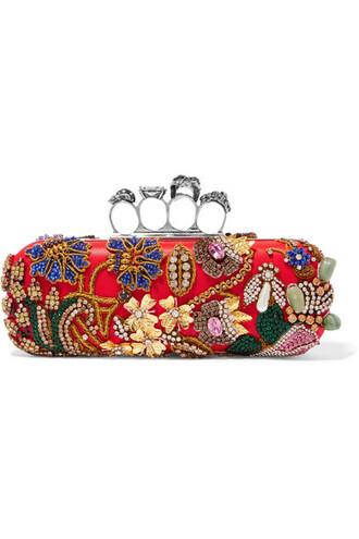 embellished clutch satin red bag