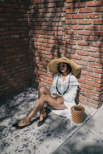song of style blogger dress top hat bag straw hat basket bag flats shirt dress summer dress summer outfits