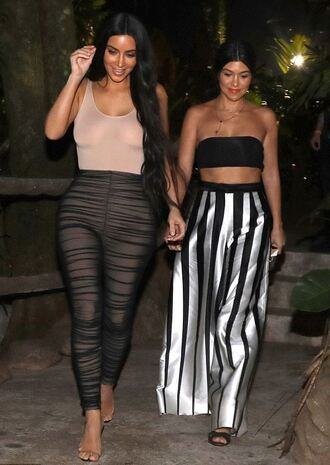 pants top bodysuit kim kardashian kourtney kardashian kardashians wide-leg pants high waisted crop tops