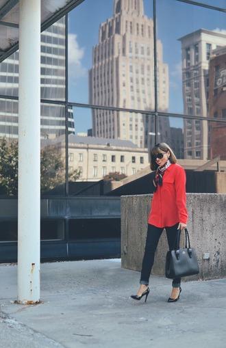 mysmallwardrobe blogger jeans blouse shoes scarf bag sunglasses handbag red shirt black jeans high heel pumps high heels