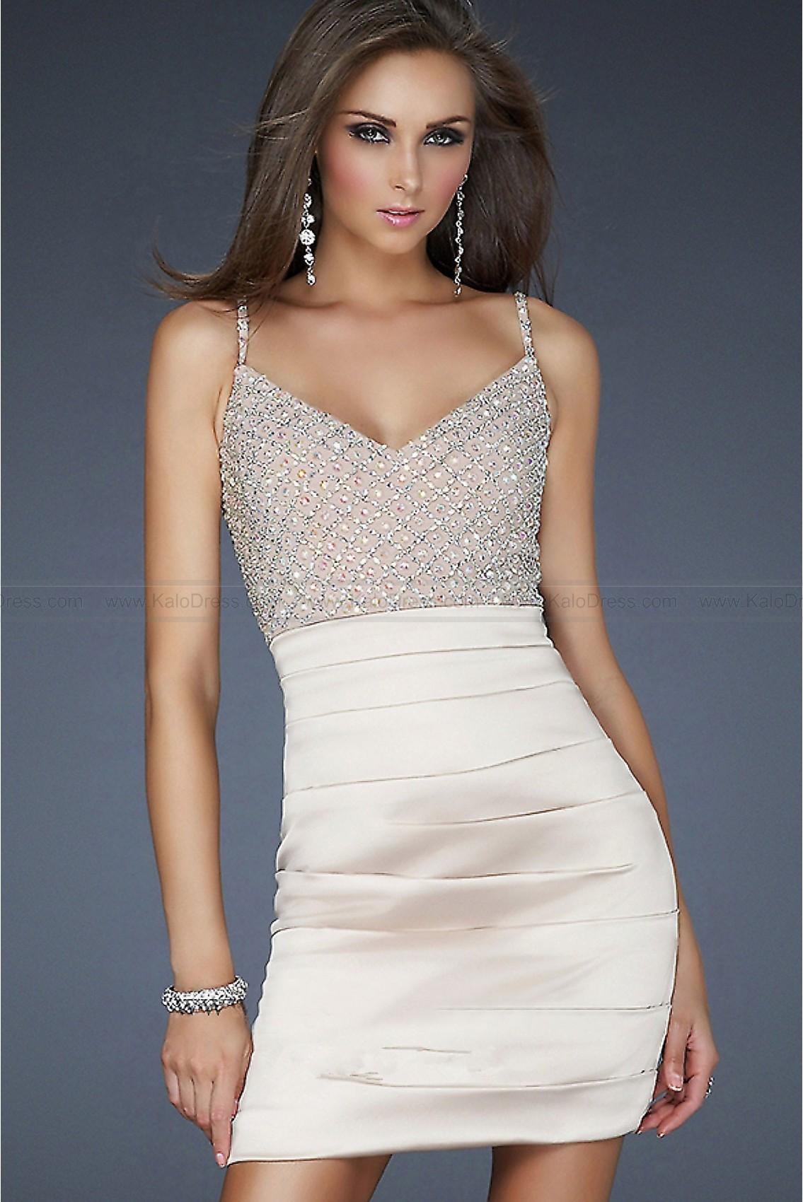 Sheath / Column V-neck Spaghetti Straps Elastic woven satin Prom Dress - Special Occasion