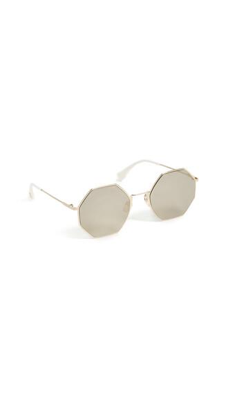 geometric sunglasses gold grey