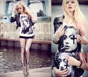 shirt,smoking,cross,spikes,bones,heels,high heels,angelina jolie,halloween,pants