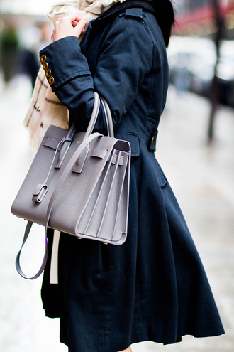 coat tumblr black coat bag grey bag ysl ysl bag designer bag scarf checkered checkered scarf