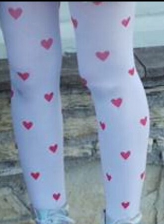 leggings heart pink and white tights hearts tights pink white