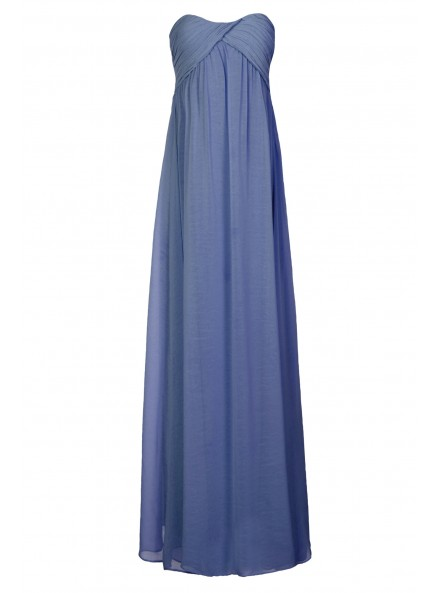 Dusty Blue Ruched Maxi Prom Dress