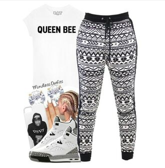 pants black and white joggers cute queen bee tribal cardigan