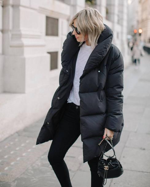 coat tumblr black coat puffer coat winter coat sweater jeans black jeans bag black bag