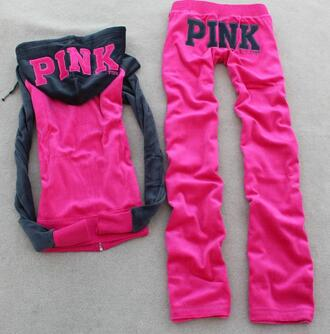 pants pink tracksuit hoodie sexy sweet victoria's secret pink by victorias secret jumpsuit