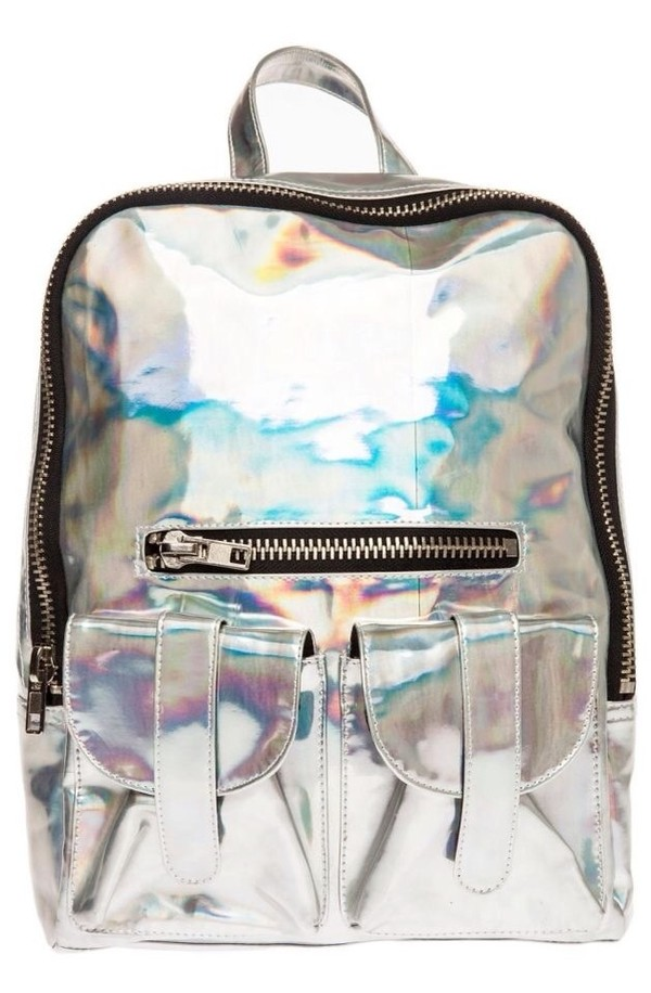 bag backpack holographic holographic silver holographic bag holographic purse silver grunge backpack