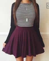 skirt,skater skirt,burgundy,back to school,school uniform,school outfit,trendy,instagram,cute,striped top,burgundy skirt,black cardigan,necklace