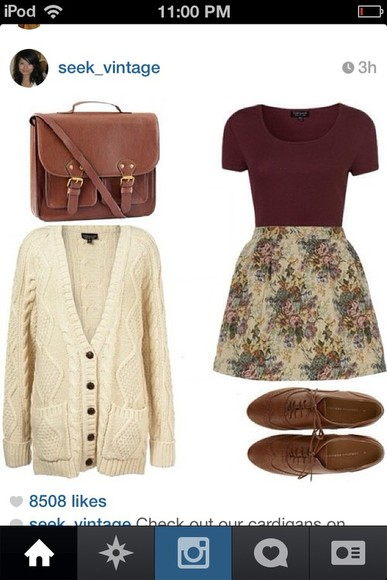 shoes sweater winter cute oxfords bag vintage hipster fall skirt floral burgundy white