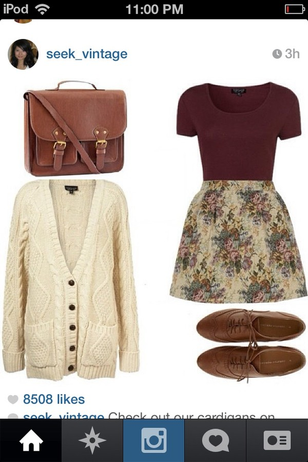 skirt sweater shoes cute vintage hipster fall outfits winter outfits floral burgundy white oxfords bag
