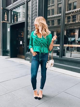 gbo fashion blogger top shoes bag green top gucci bag chanel heels spring outfits