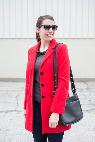 styleontarget blogger coat sunglasses sweater bag jeans shoes red coat shoulder bag winter outfits