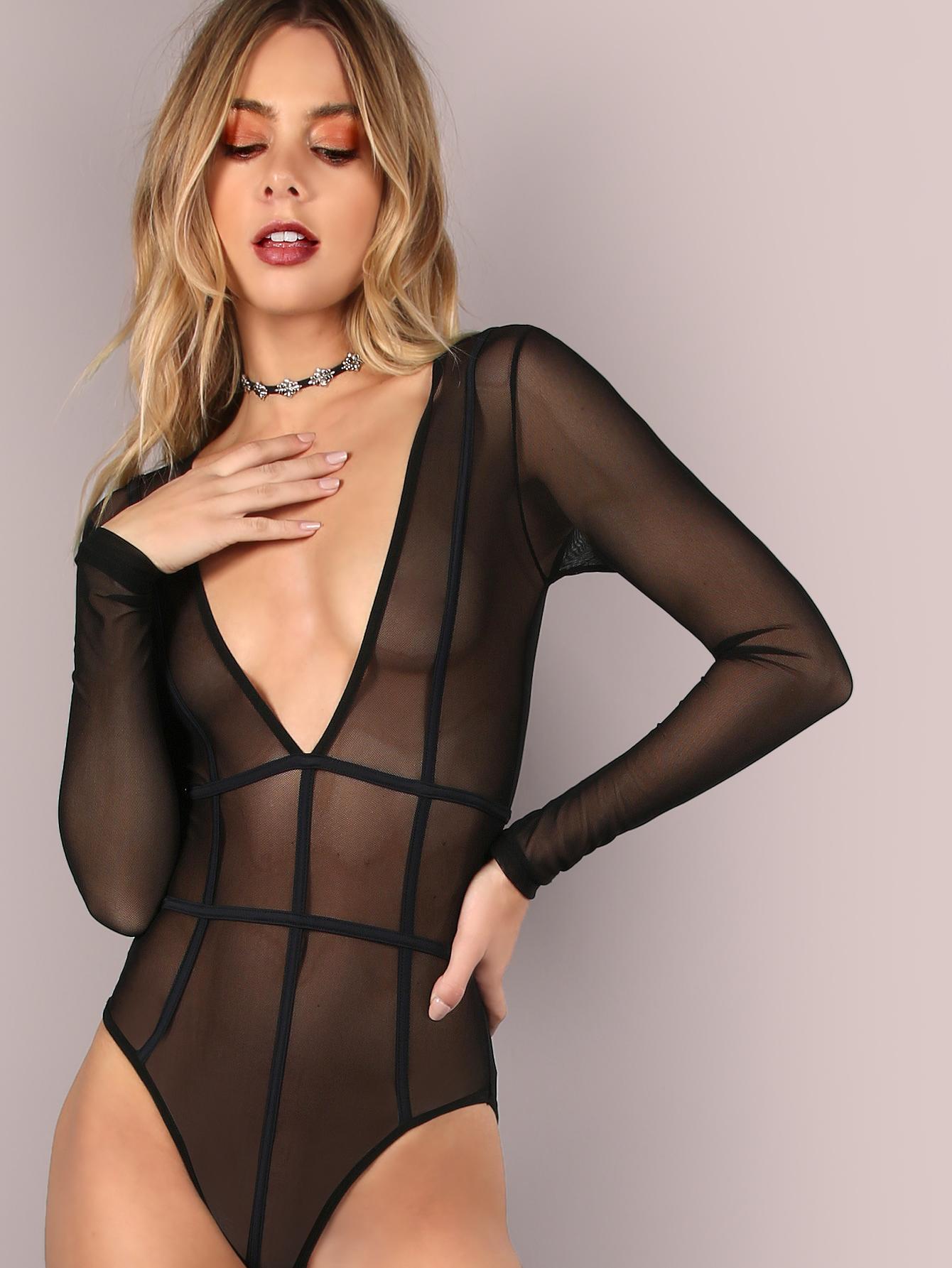 Plunging V-Neckline Mesh Bind Bodysuit BLACK -SheIn(Sheinside)