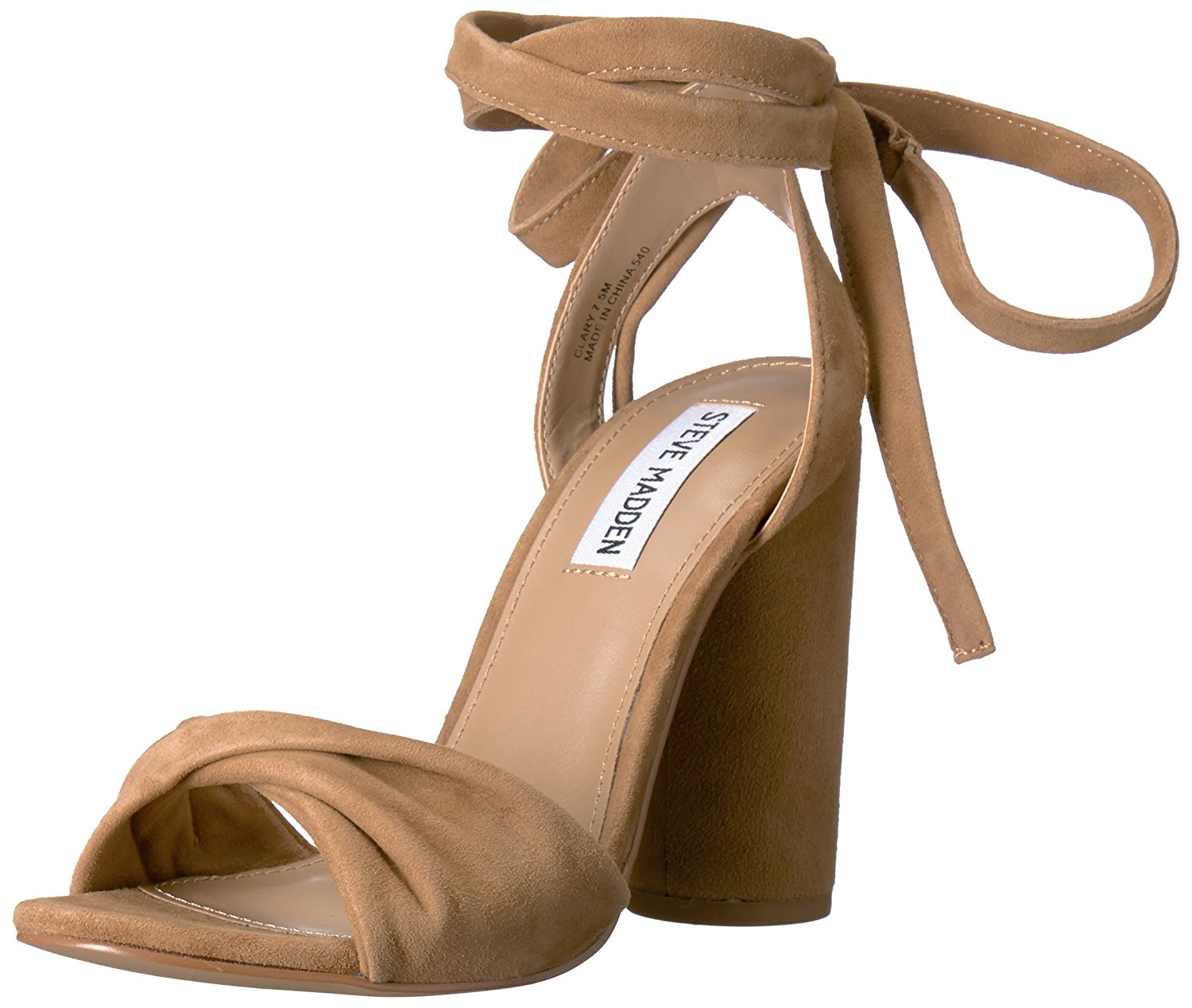 7782d8a82f0 Amazon.com | Steve Madden Women's Clary Dress Sandal, Camel Suede, 7.5 M US  | Heeled Sandals