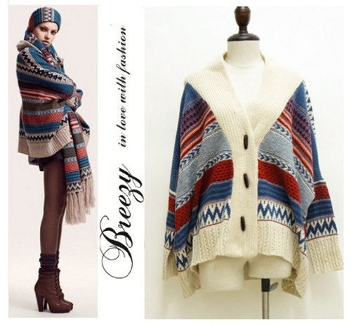 Bohemian vintage tribal oversized knit bat sleeve sweater coat knitwear cardigan