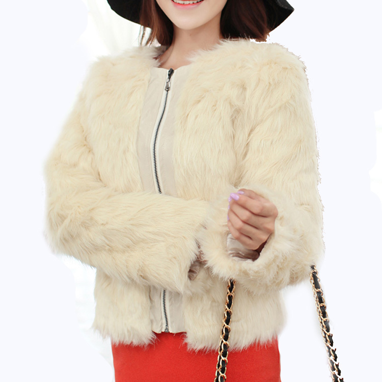 New Fashion Women Leather Patchwork Long Sleeve Winter Warm Plush Faux Fur Jacket Coat Outerwear GWF 6724-in Leather & Suede from Apparel & Accessories on Aliexpress.com