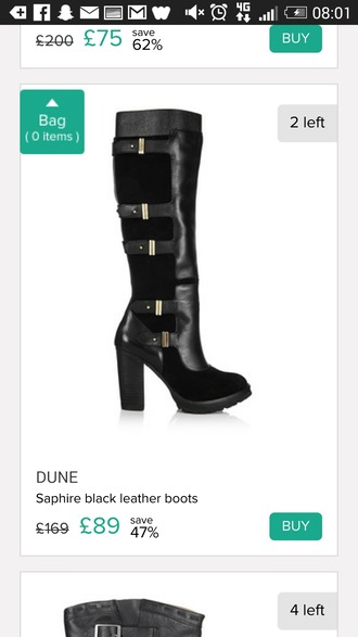 shoes dune knee high boots leather boots buckles
