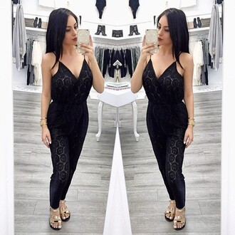 jumpsuit lace black wrap string strap