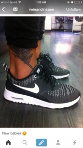 shoes,nike,black,sneakers,black and white,stripes,official.sneakers,style,tattoo