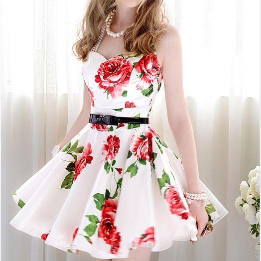 2014 women's summer popular women's dream flower silks and satins one piece dress White Sleeveless Bandeau Floral Tank Dress-inDresses from Apparel & Accessories on Aliexpress.com
