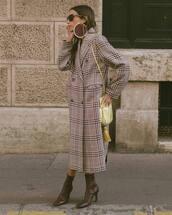 coat,long coat,oversized coat,checkered,ankle boots,high heels boots,earrings,shoulder bag,sunglasses