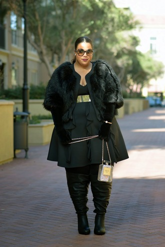 garner style blogger bag curvy winter outfits black dress belt gloves plus size plus size dress