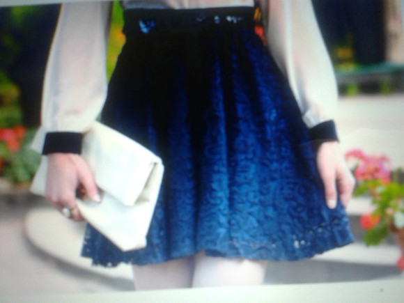 blue navy skirt mini lace