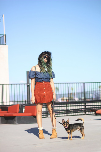 joellen love blogger button up skirt suede skirt peasant top