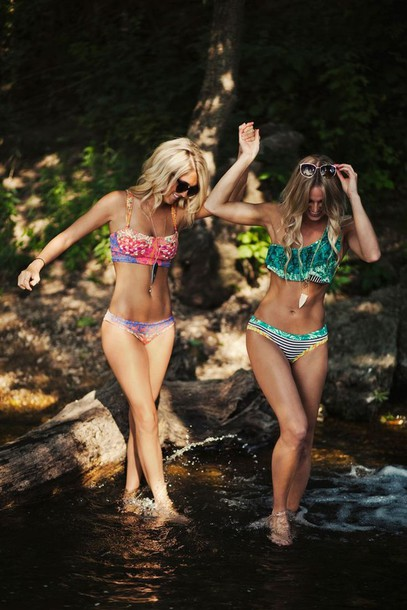 swimwear swimwear colorful clothes nature ocean picture flowers high waisted boho tribal pattern perfect style blue orange patterned swimwear