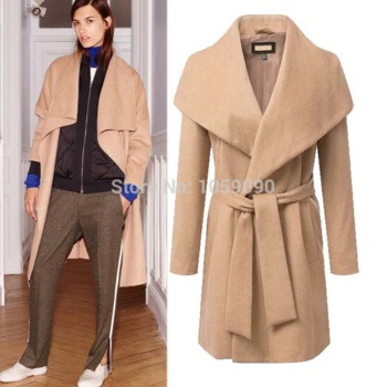 Aliexpress.com : buy 2015 fashion za new women blazer collar long wool trench coat double breasted camel black colors female thick winter outerwear from reliable coated roofing suppliers on vogue official online shop