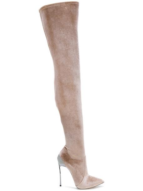 CASADEI heel women leather velvet brown shoes